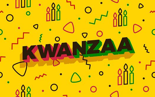 Seamless Modern Kwanzaa 3D Text Background Abstract