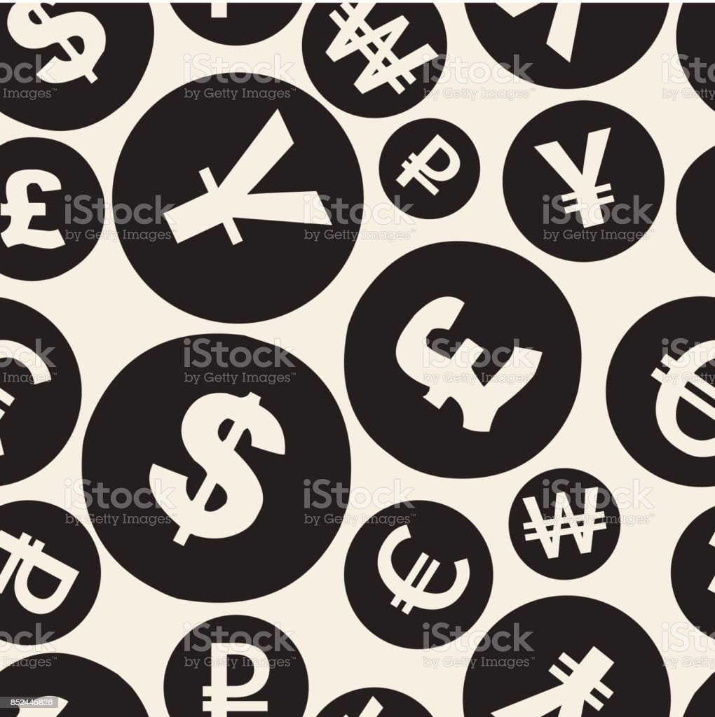 Seamless Monochrome Currency Symbol Pattern Background Stock Vector