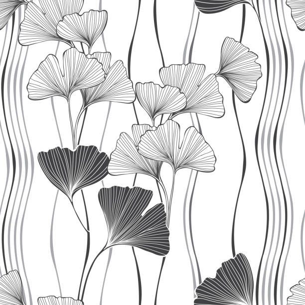 Seamless monochrome floral pattern with leaves of gingo biloba. Vector  illustration on white background . Nature seamless background with leaves of gingo biloba. Vector illustration, sketch. ginkgo stock illustrations