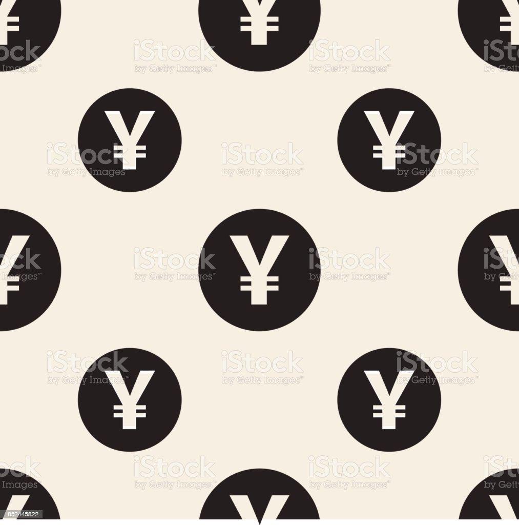 Seamless Monochrome Japan Currency Symbol Pattern Background Stock