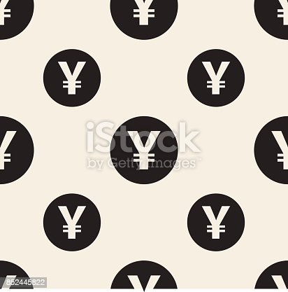 Seamless Monochrome Japan Currency Symbol Pattern Background Stock
