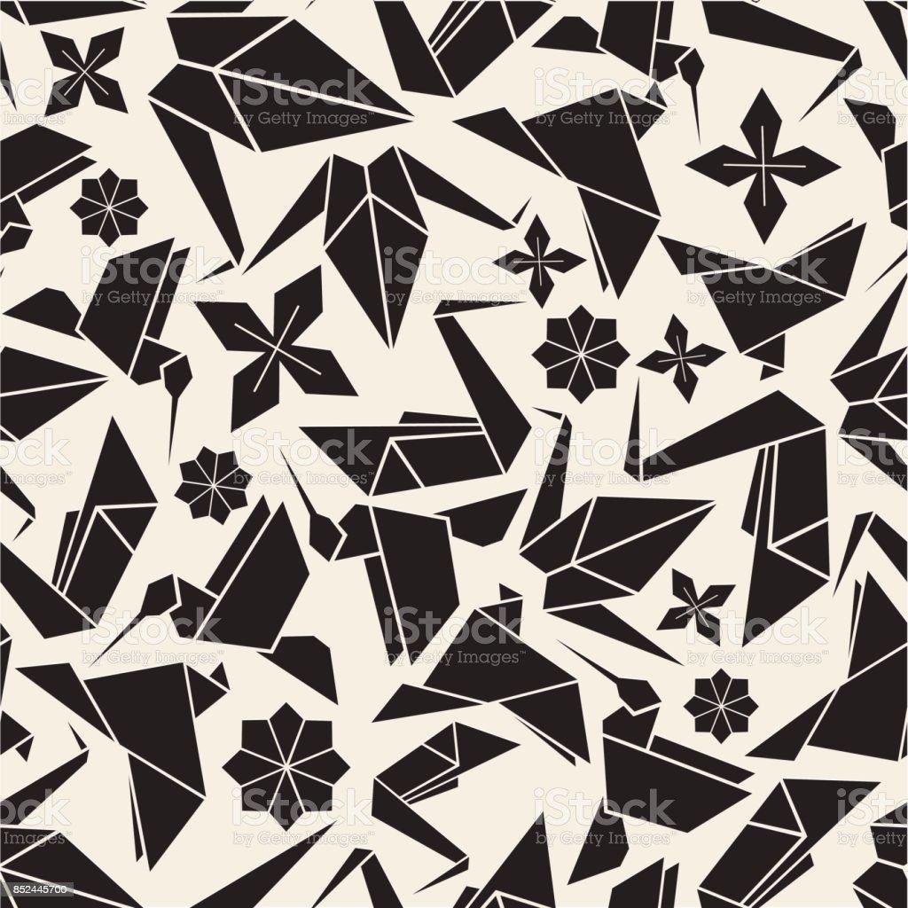 シームレスなモノクロの折り紙の鳥と花パターンの背景 アイコンの