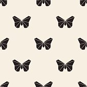seamless monochrome origami butterfly pattern background