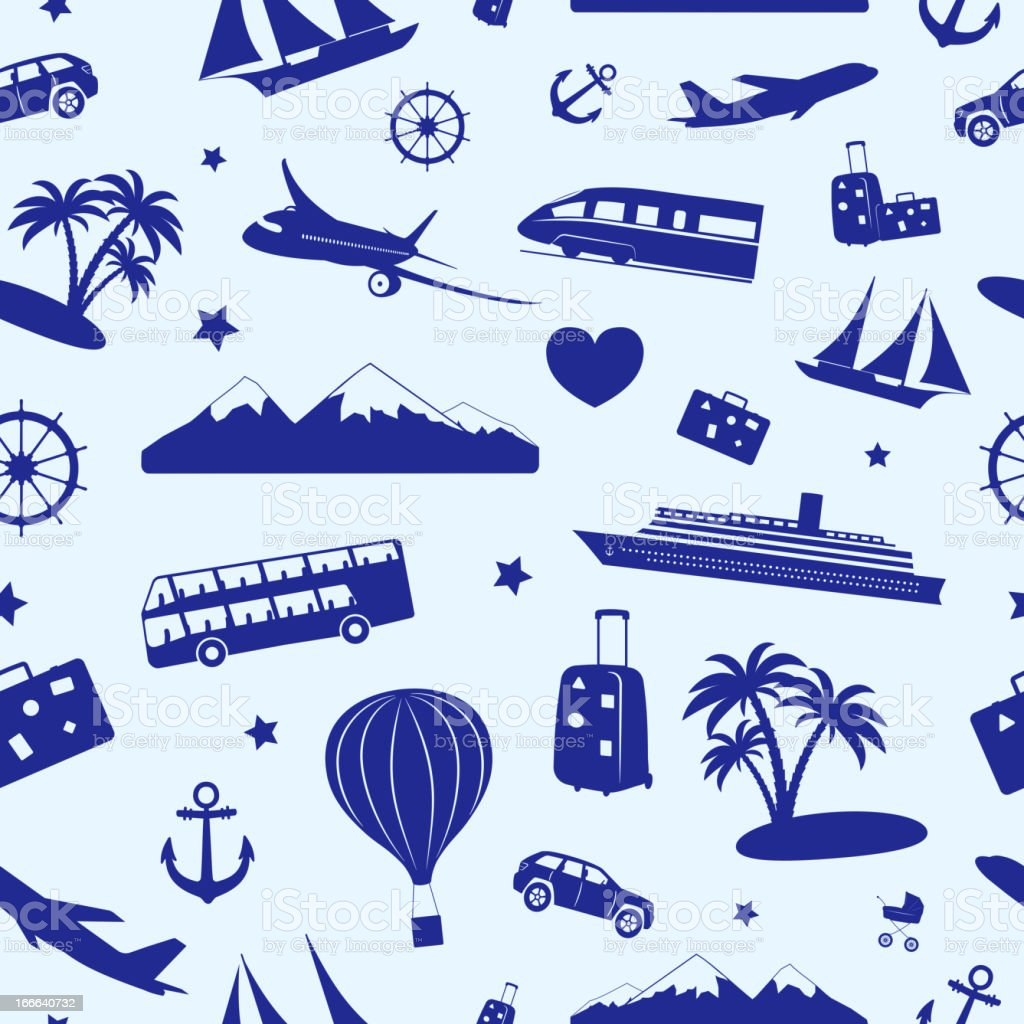 Seamless monochrome pattern on travel and tourism royalty-free stock vector art