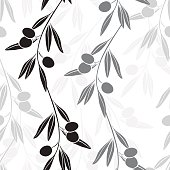 Olive branches. Endless vector background black-and-white illustration.