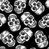 Seamless monochrome pattern with skulls. EPS 8 vector illustration.