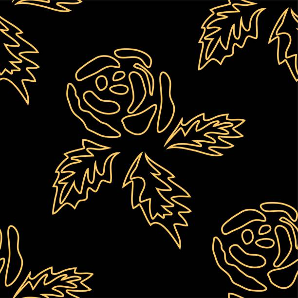 Seamless monochrome pattern with vintage roses. Background with flower silhouettes Seamless monochrome pattern with vintage roses. Background with flower silhouettes blue silhouettes stock illustrations