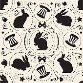 seamless monochrome sweet vintage pattern with rabbit and hat , wonderland theme