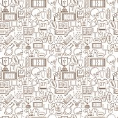 Seamless vector pattern with brown outline elements or symbols for American football on white background.