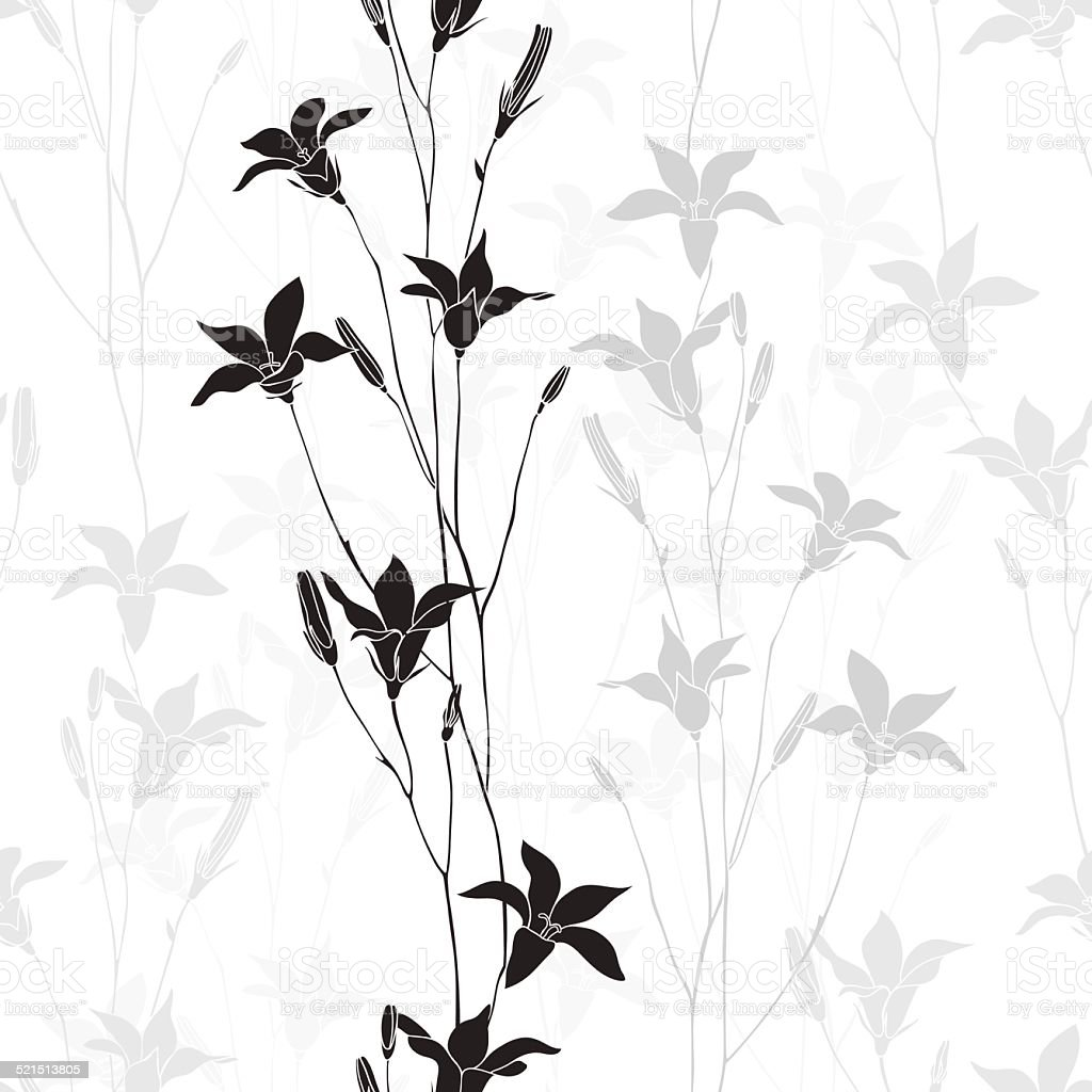 Seamless monochrome vector pattern with  bellflowers. vector art illustration