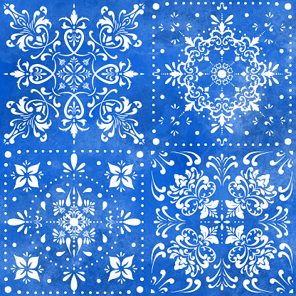 Seamless Moroccan Ceramic Pattern. White Tiles with Watercolor Hand Painted Navy Blue Background. Vector tile pattern, Lisbon Arabic Floral Mosaic, Mediterranean Seamless Navy Blue Ornament.