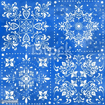istock Seamless Moroccan Ceramic Pattern. White Tiles with Watercolor Hand Painted Navy Blue Background. Vector tile pattern, Lisbon Arabic Floral Mosaic, Mediterranean Seamless Navy Blue Ornament. 1204648998