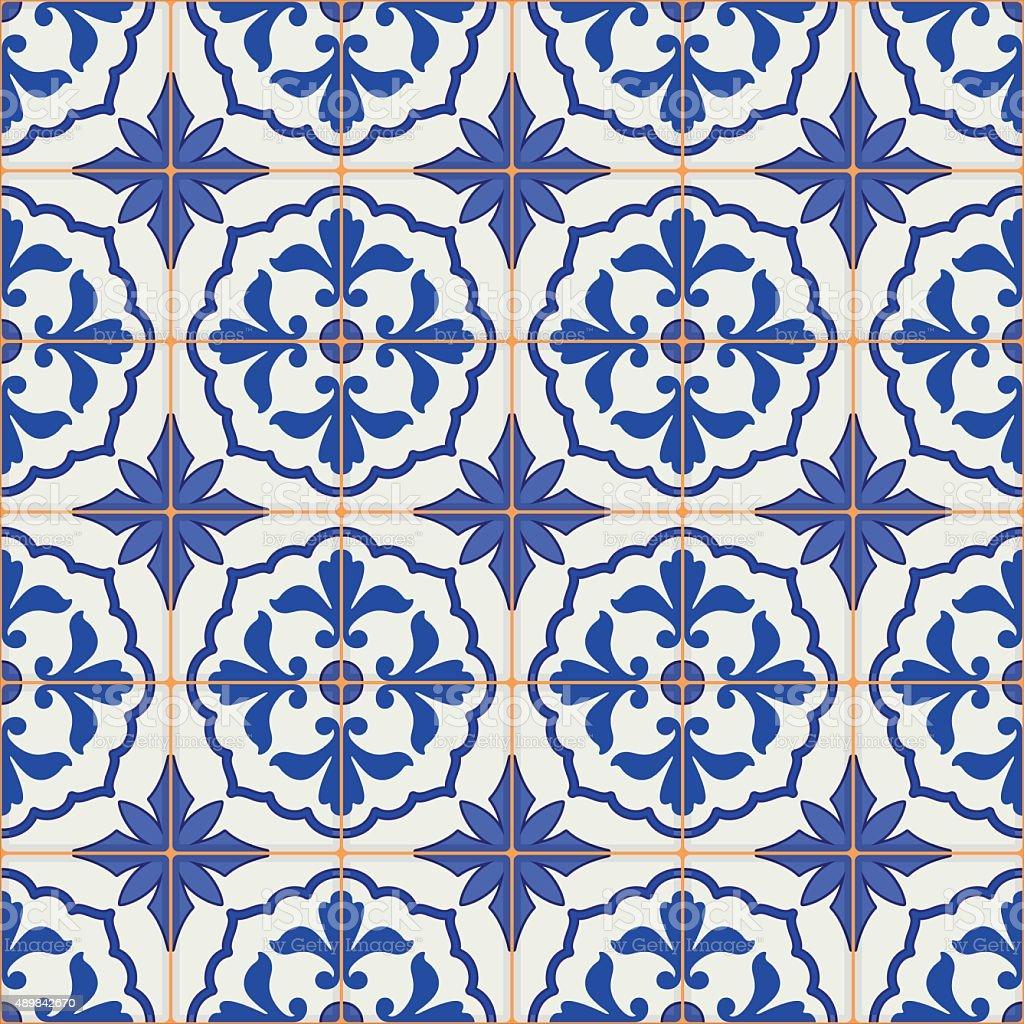 Seamless Moroccan, Portuguese  tiles, Azulejo, ornaments. vector art illustration