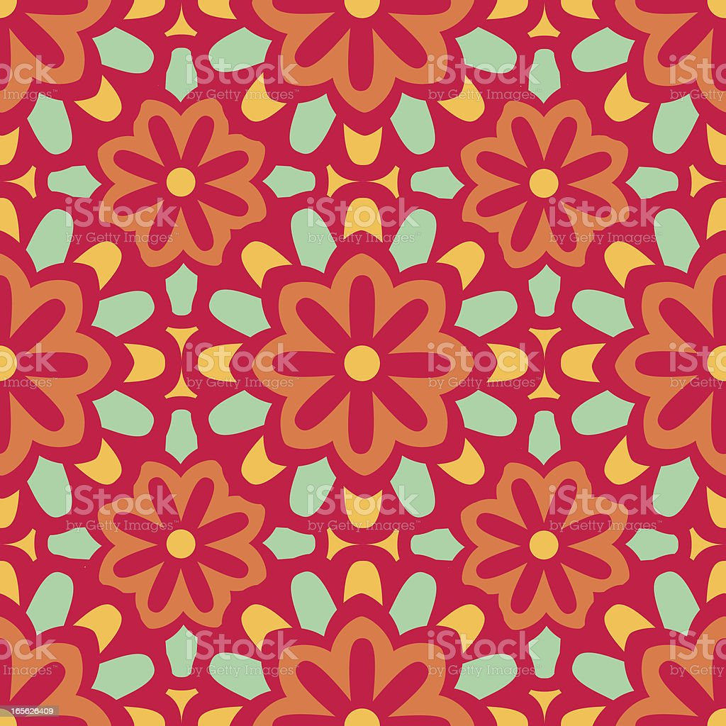 Seamless Moroccan Style Floral Background Pattern: Pink, Orange, Yellow, Aqua royalty-free stock vector art