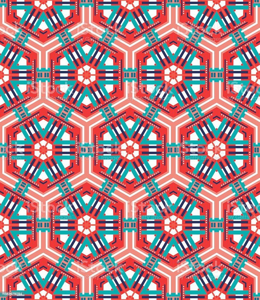 Seamless mosaic flat red background vector art illustration