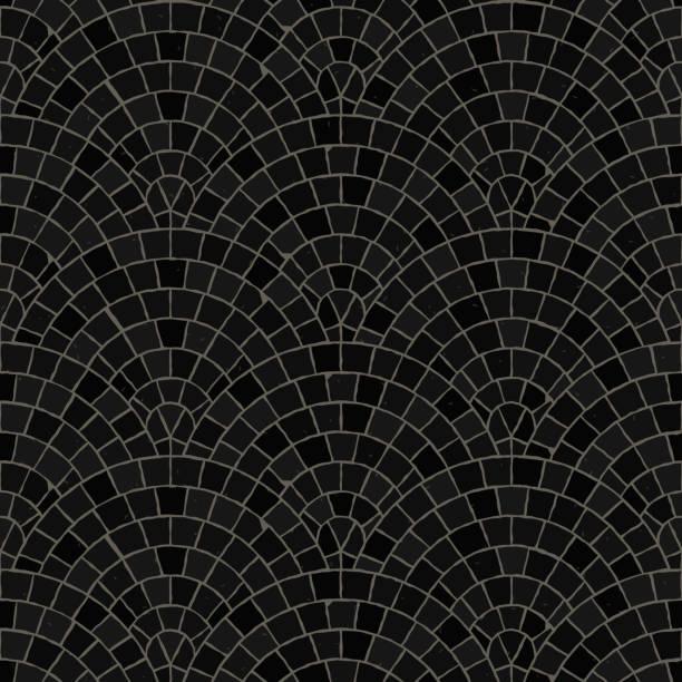 nahtlose mosaikmuster boden. schwarze pflaster stein fliesen. - kieselmosaik stock-grafiken, -clipart, -cartoons und -symbole