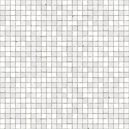 Seamless mosaic floor pattern. White pavement stone tiles.