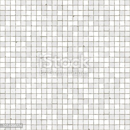 Seamless mosaic floor pattern. White pavement stone tiles. Geometric mediterranean texture.