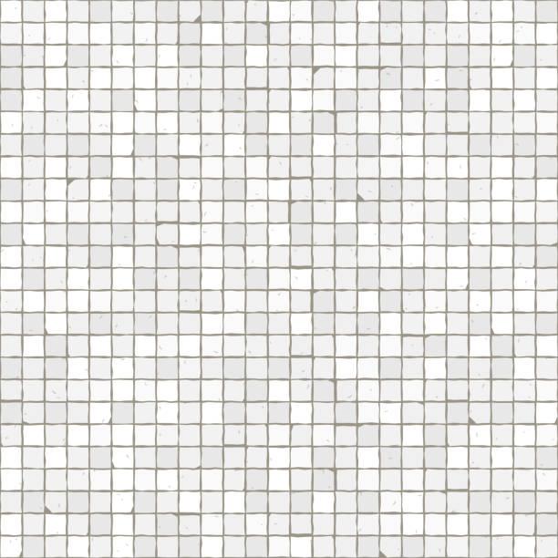 stockillustraties, clipart, cartoons en iconen met naadloze mozaïek vloer patroon. witte bestrating stenen tegels. - mozaïek