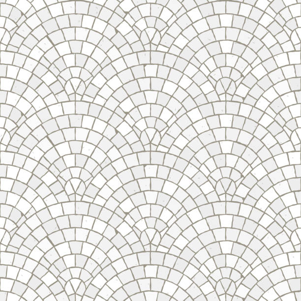 nahtlose mosaikmuster boden. weiße pflaster stein fliesen. - steinpfade stock-grafiken, -clipart, -cartoons und -symbole