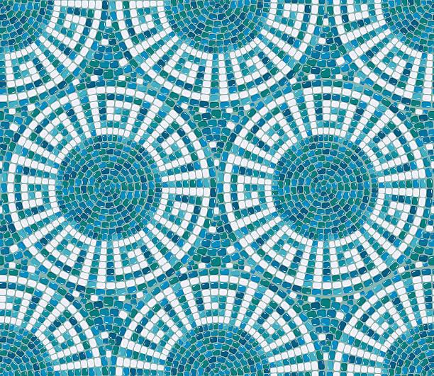 Seamless mosaic pattern -  Blue ceramic tile - geometric ornament Seamless mosaic pattern -  Blue ceramic tile - classic geometric ornament mosaic stock illustrations