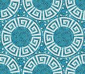 Seamless mosaic pattern -  Blue ceramic tile - geometric ornament