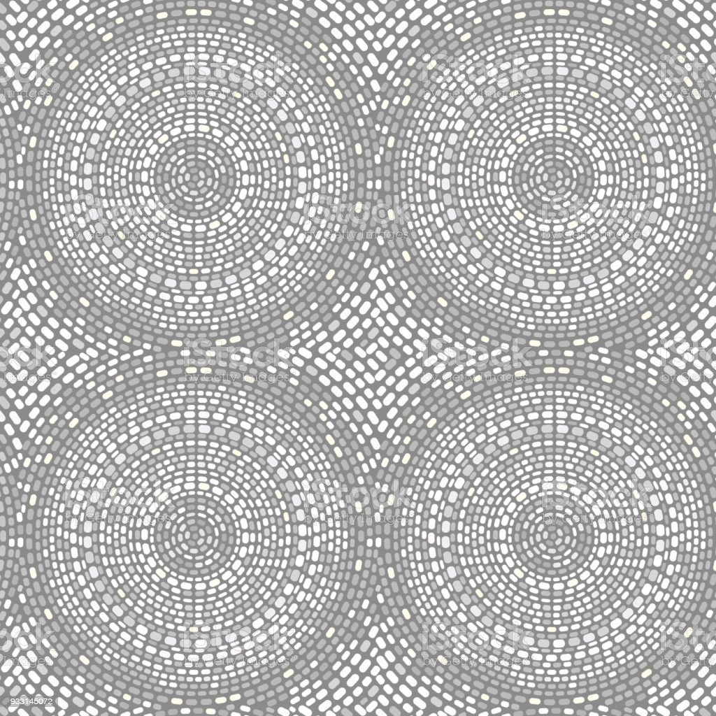 Seamless mosaic pattern with circles vector art illustration