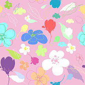 Seamless multi-colored flowers in the thumbnail style varying degrees of elaboration on a pink background