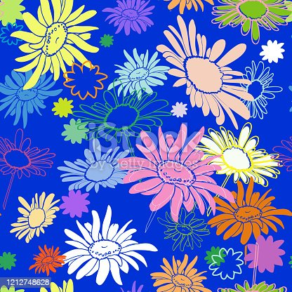 Seamless multi-colored flowers on a blue background, with varying degrees of drawing drawn in the thumbnail style