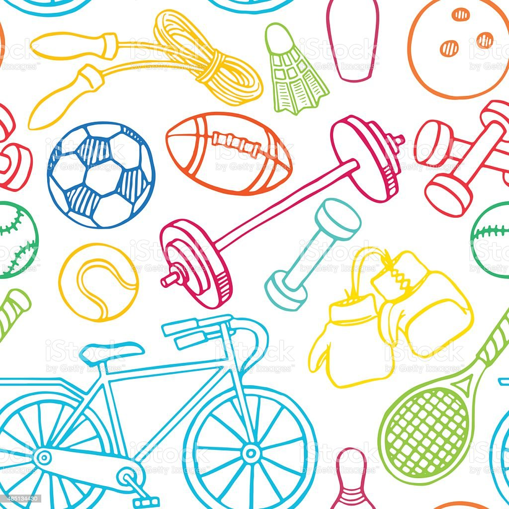 Sem multicolorida de equipamentos esportivos - ilustração de arte em vetor