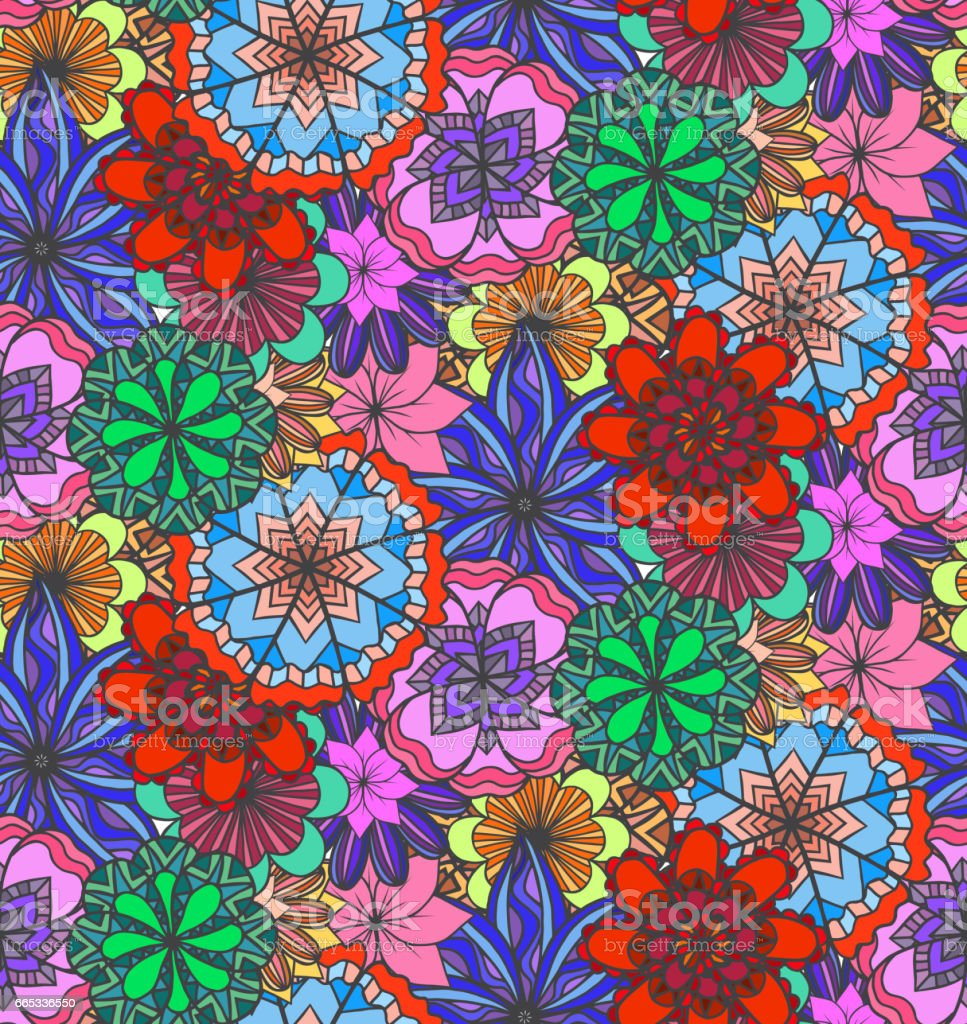 Seamless Multicolored Texture With Doodle Flowers Vector Pattern For
