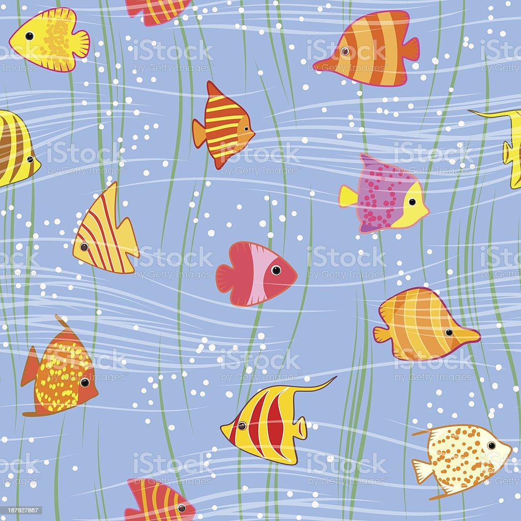 seamless multicolored tropical fish background royalty-free stock vector art