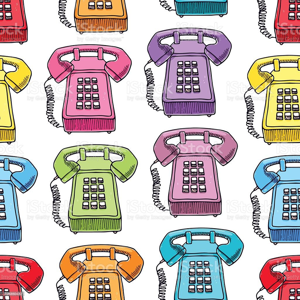 seamless multicolored vintage phones royalty-free seamless multicolored vintage phones stock vector art & more images of beauty