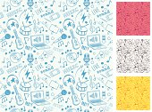 Vector background seamless. Doodle music and sound symbols.