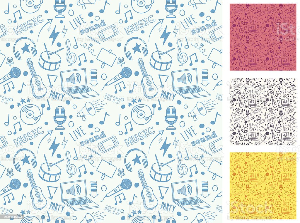 Seamless Music Doodle Pattern vector art illustration