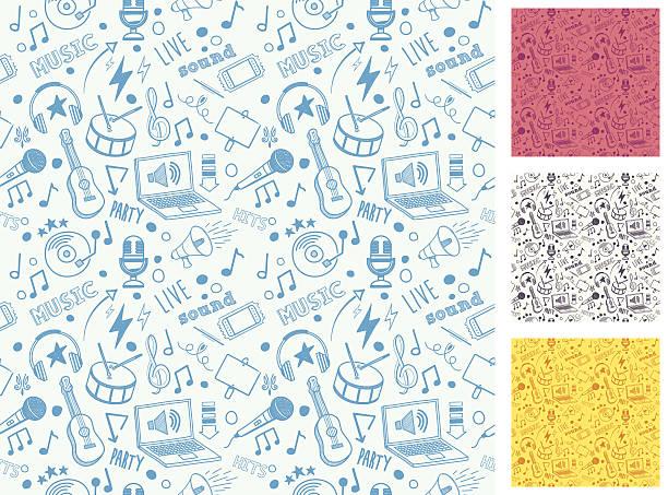 seamless music doodle pattern - music stock illustrations