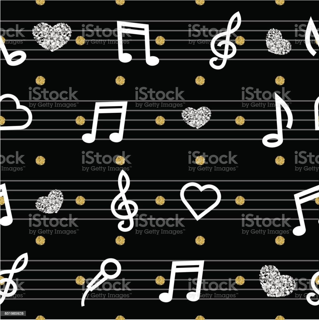Seamless Music Note With Gold And Silver Glitter Pattern On