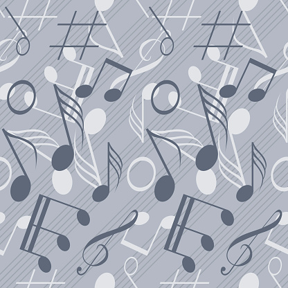 Seamless music pattern with diagonal staff and randomly scattered notes. Elegant print of various musical symbols. Blue-grey and grey colors. Vector illustration