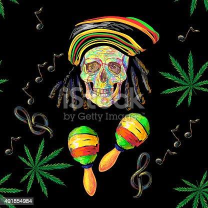 istock Seamless music Rastafarian pattern 491854984