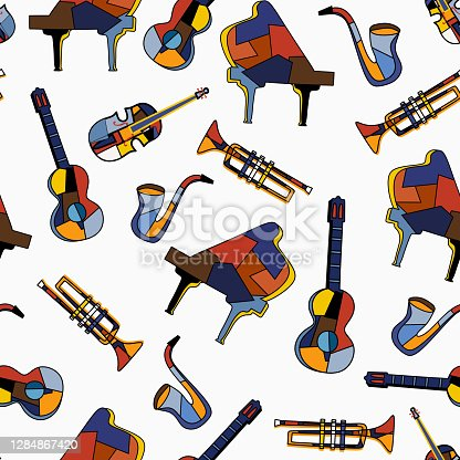 istock Seamless musical instruments on white background. Music pattern of piano, guitar, cello, trumpet, saxophone. Flat vector design for music festival. The concept set with music equipment 1284867420