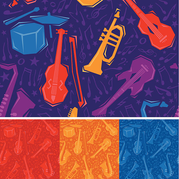 bezszwowe instrumenty muzyczne - talerz perkusyjny stock illustrations