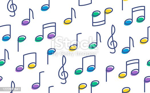 istock Seamless Musical Notes Background 1222852641
