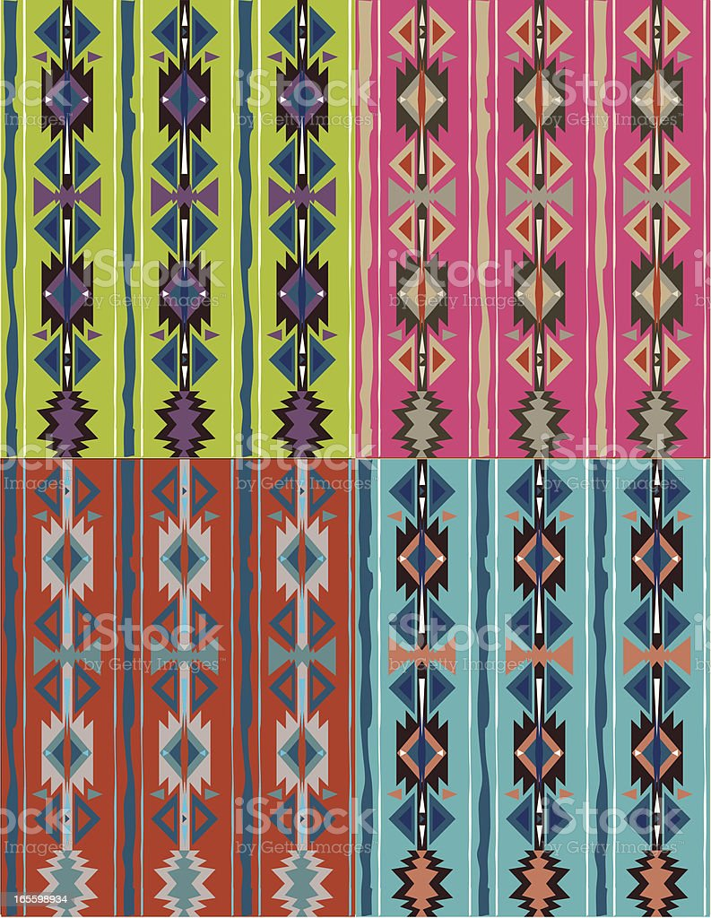 Seamless - Native American, Aztec, Mian Pattern vector art illustration