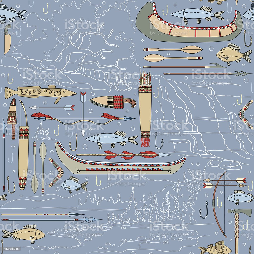 seamless Native American pattern with river landscapes vector art illustration