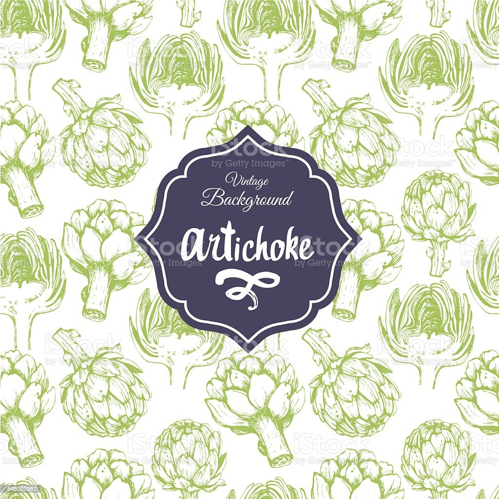 Seamless nature background with artichoke. Fresh food . - Illustration vectorielle