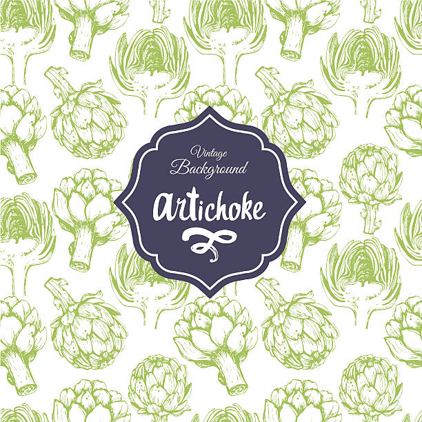 Seamless nature background with artichoke. Fresh food . Vegetables vintage pattern. Hand-drawn sketch of artichoke. artichoke stock illustrations