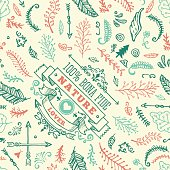 A seamless pattern made out of hand drawn nature doodles. EPS 10 file, no transparencies, layered & grouped,