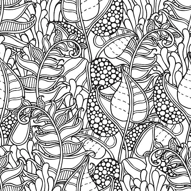 Seamless nature pattern in doodle style Seamless nature pattern in doodle style. Floral, ornate, decorative, forest vector design elements. Black and white background. Leaves, moss, grass, fern.  mistery stock illustrations