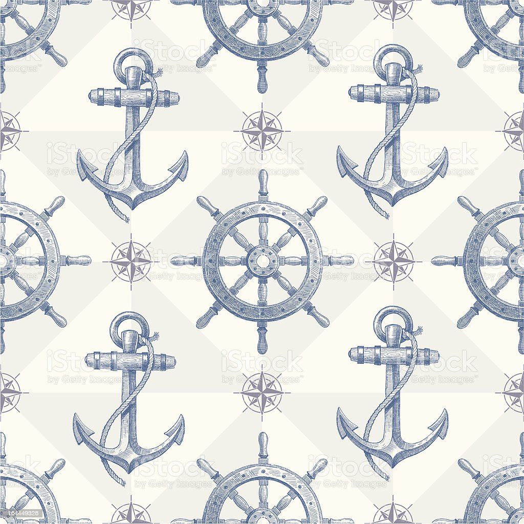 Seamless nautical background with hand drawn elements vector art illustration