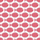 Seamless nautical pattern with fish